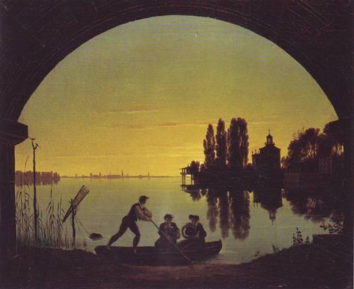 The Banks Of The Spree At Strlau   Karl Friedrich Schinkel   oil painting