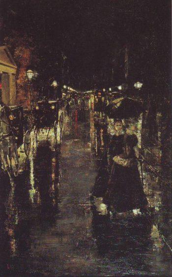 Berlin Street Scene | Lesser Ury | oil painting