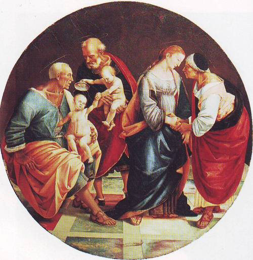 The Holy Family With Zachariah Elizabeth And The Infant Baptist | Luca Signorelli | oil painting
