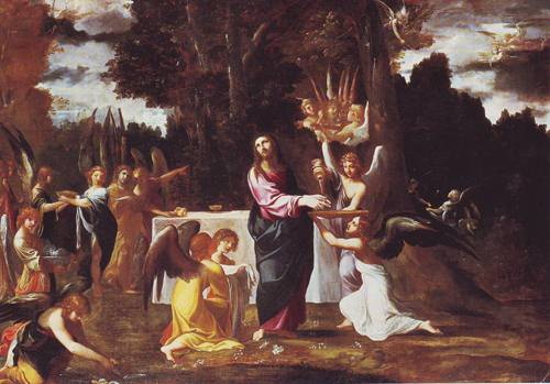 Christ Served By Angels In The Wilderness | Ludovico Carracci | oil painting