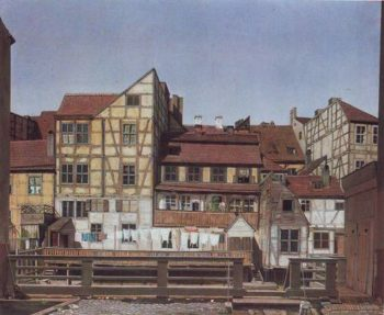Houses At A Millrace | Ludwig Deppe | oil painting