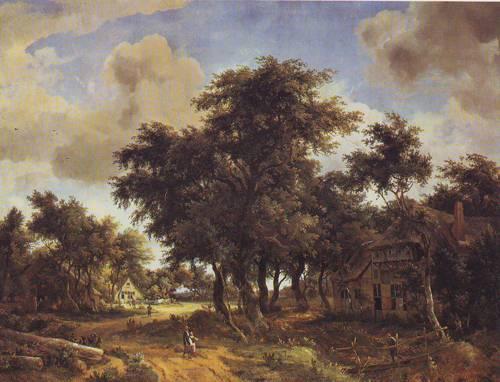 Village Street Under Trees | Meindert Hobbema | oil painting