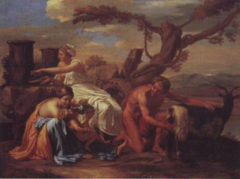 The Infant Jupiter Nurtured By The Goat Amalthea | Nicolas Poussin | oil painting