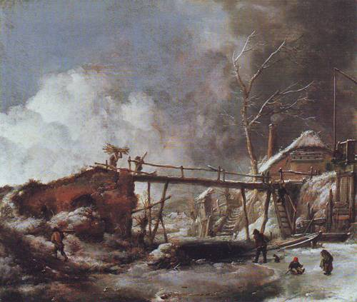 Winter Landscape With Wooden Bridge | Philips Wouwerman | oil painting