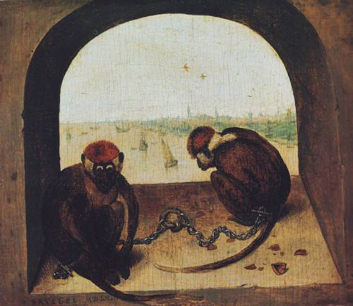 Two Chained Monkeys | Pieter Bruegel | oil painting