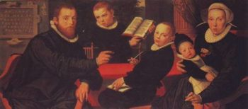 Laurens Jacobszoon With His Wife And Three Sons | Pieter Pietersz | oil painting