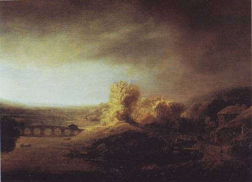 Landscape With A Long Arched Brige | Rembrandt | oil painting