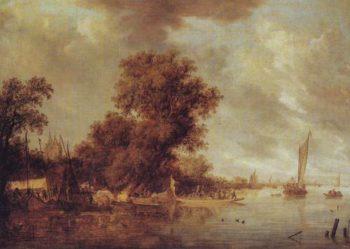 River Landscape At Arnheim | Salomon Jacobsz Van Ruysdael | oil painting