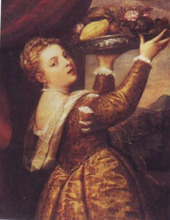 Woman With A Fruit Bowl | Titian | oil painting