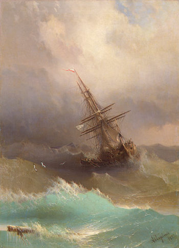 A Ship in the Stormy Sea 1887 | Aivazovsky Ivan Konstantinovich | oil painting