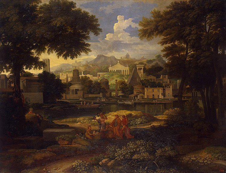 Landscape with Moses Saved from the Nile Last quarter of the 17th-first third of the 18th c | Allegrain Etienne | oil painting