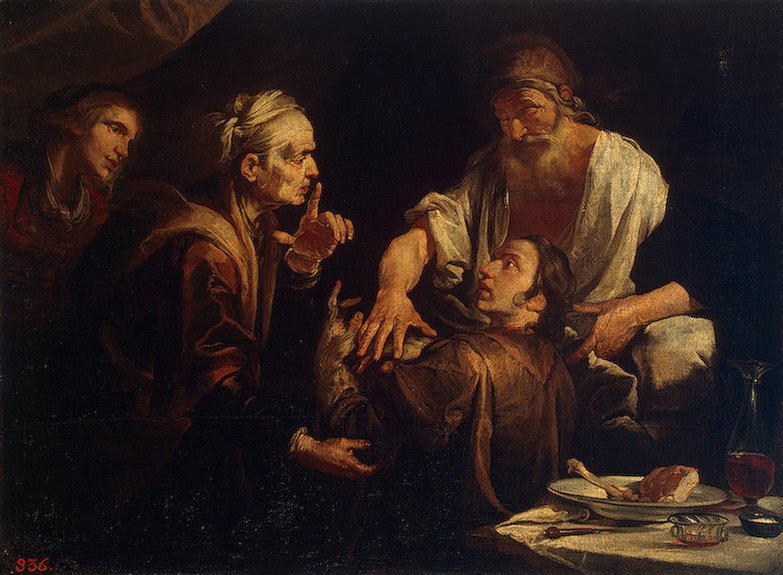 Isaac Blessing Jacob 1640s | Assereto Gioacchino | oil painting
