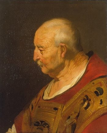 Head of a Bald Old Man in Profile 1635 | Backer Jacob Adriaensz | oil painting