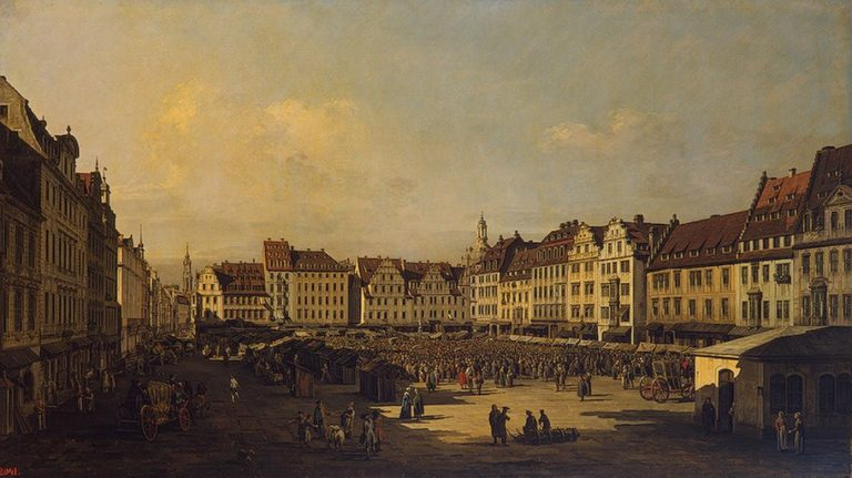 Old Market-place in Dresden (the artists replica) 1751or1752 | Bellotto Bernardo | oil painting