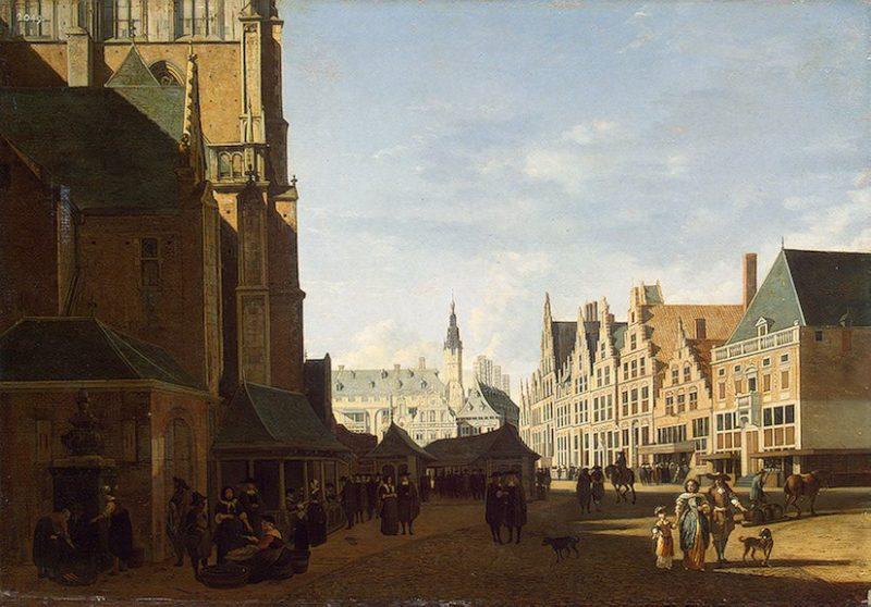 Groote Market in Haarlem 1673 | Berckheyde-Gerrit Adriaensz | oil painting