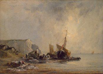 Boats near Shore of Normandy 1823OR1824 | Bonington Richard Parkes | oil painting