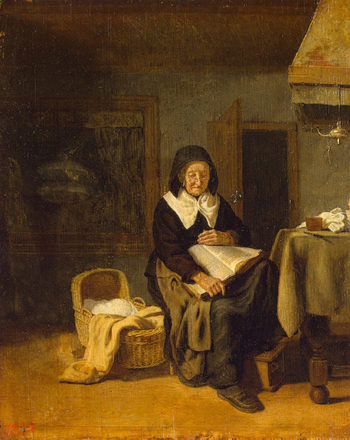 Old Woman Reading a Book 1650 | Bos Pieter van den | oil painting
