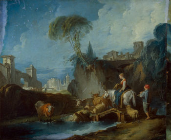 Crossing the Bridge 1730s | Boucher Francois | oil painting