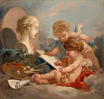 Cupids. Allegory of Painting 1760s | Boucher Francois | oil painting