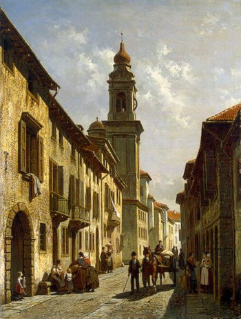 A Town Street Second half of the 19th century | Carabain (Carabin) Jacques Francois | oil painting