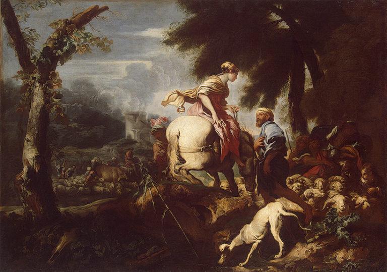 Isaac Meeting Rebecca 1640 | Castiglione Giovanni Benedetto (Il Grechetto) | oil painting