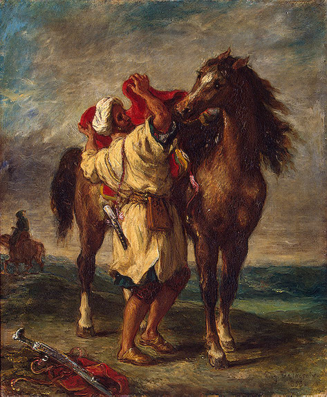 Arab Saddling his Horse 1855 | Delacroix Eugene | oil painting