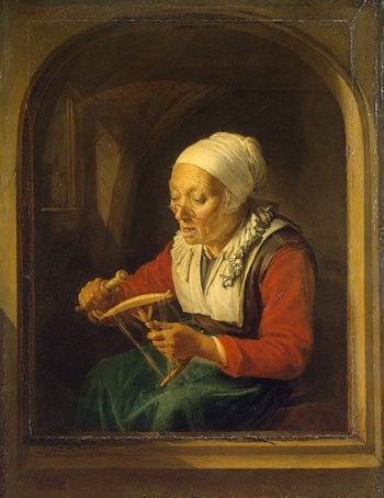 Old Woman Unreeling Threads 1660-1665 | Dou Gerard | oil painting