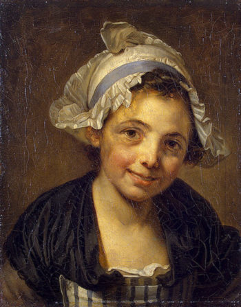 Head of a Young Girl in a Bonnet 1760-1768   Greuze Jean-Baptiste   oil painting