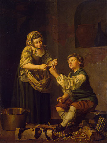 Children Bandaging a Finger 1781 | Hillestrom Per I | oil painting