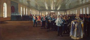 Church Parade of the Finnish Life Guard Regiment 1906 | Kustodiev Boris Mikhailovich | oil painting