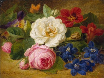 Bouquet of Flowers with a snail Mid-19th century | Launer Josef | oil painting