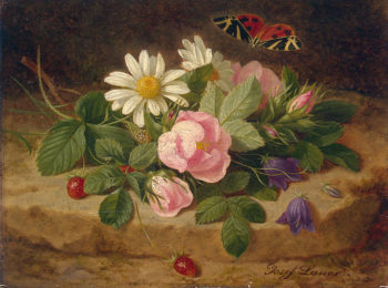 Bouquet of Flowers with a Butterfly Mid-19th century | Launer Josef | oil painting