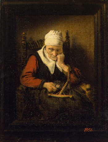 Old Woman Spinning 1658 | Maes Nicolaes | oil painting