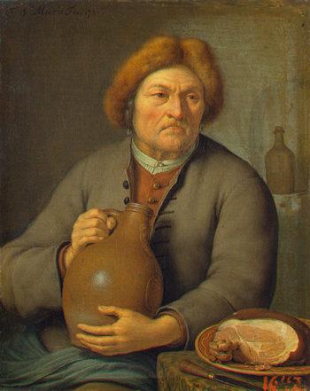 Old Peasant Holding a Jug 1731 | Mieris Frans van II | oil painting