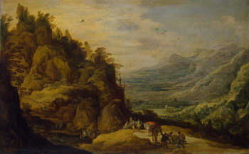 Mountainous Landscape with Figures and a Donkey 1630s | Momper Joos de | oil painting