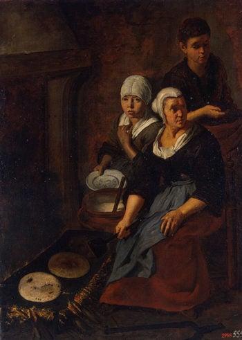 Baking of Flat Cakes 1645-1650 | Murillo Bartolome Esteban | oil painting