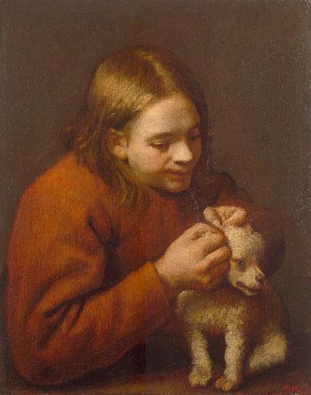 Boy Looking for Fleas on a Dog 1650 | Nunez de Villavicencio Pedro | oil painting
