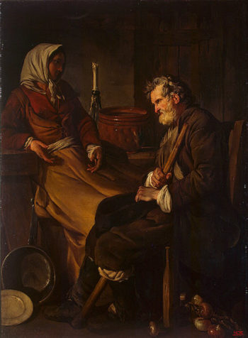 Old Man in the Kitchen 1745 | Pierre Jean-Baptiste-Marie | oil painting