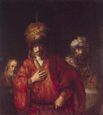 Haman Recognizes His Fate 1665 | Rembrandt Harmensz van Rijn | oil painting