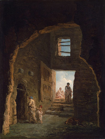 Inhabited Ruins 1790s | Robert Hubert | oil painting