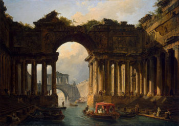 Architectural Landscape with a Canal 1783 | Robert Hubert | oil painting