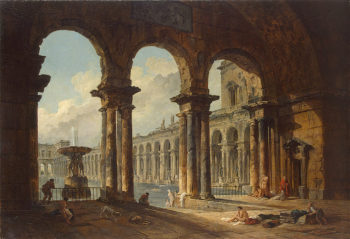Ancient Ruins Used as Public Baths 1798 | Robert Hubert | oil painting