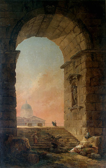 Landscape with an Arch and The Dome of St Peters in Rome 1773 | Robert Hubert | oil painting