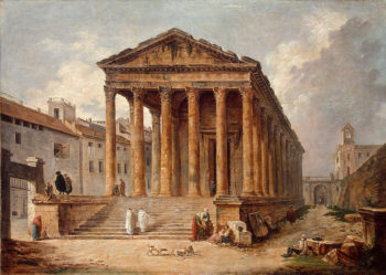 Ancient Temple-The Maison Carree at Nimes 1783 | Robert Hubert | oil painting