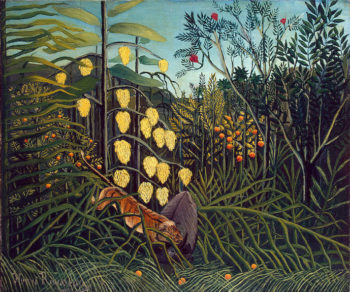 In a Tropical Forest. Struggle between Tiger and Bull 1908-1909 | Rousseau Henri | oil painting