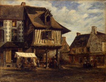 Market-Place in Normandy 1830s | Rousseau Theodore | oil painting