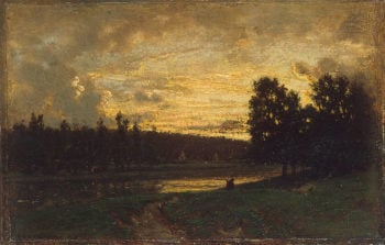Landscape with a Sunset Mid-19th century | Rousseau Theodore | oil painting