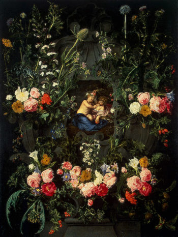 Garland of Flowers Around a Cartouche with Jesus and St. John the Baptist as Children Early 1650s | Seghers-Daniel | oil painting