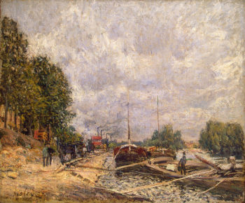Barges at Billancourt 1877 | Sisley Alfred | oil painting