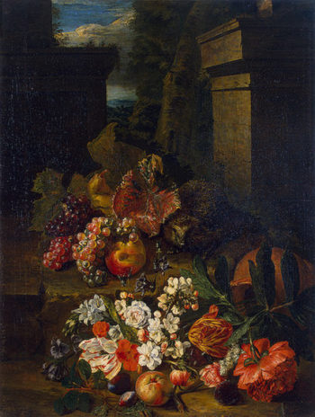 Flowers Fruit and a Hedgehog 1720-1730 | Sneyers Peeter | oil painting